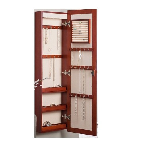 MyEasyShopping Wall Mounted Locking Jewelry Armore with Mirror in Cherry Wood Finish Wall Locking Jewelry Armoire Mount X Mounted Wooden Belham