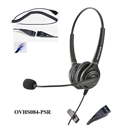 Dual Ear Call Center Headset for Polycom SoundPoint IP Phones with RJ9 Headset Jack