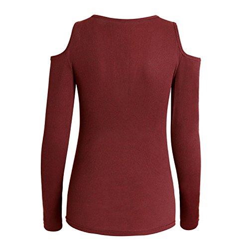 Aissy - Camiseta de manga larga - para mujer granate