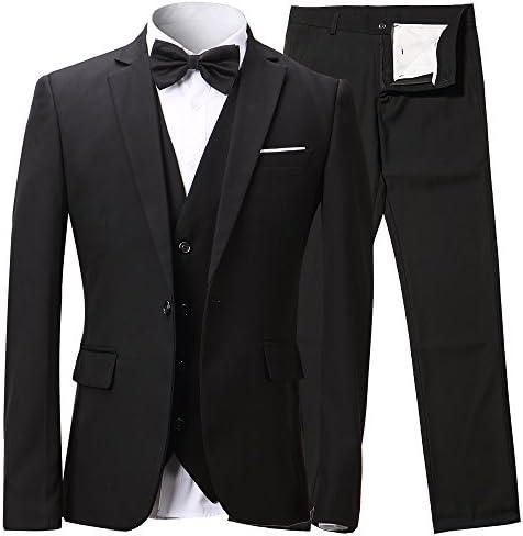 Herren Anzug Slim Fit 3 Teilig mit Weste Sakko Anzughose Business Hochzeit Party Smoking
