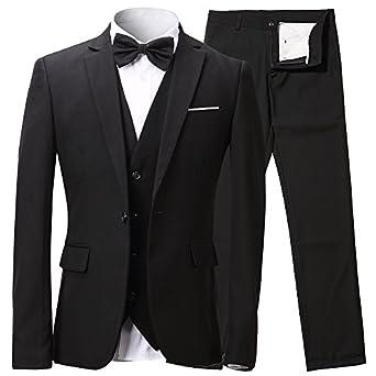 Traje de Hombre de una Fila de Botones, 3 Piezas de Blazer, Chaqueta Chaleco & Pantalón Incluido, Negro, EU 56/Pantalón 40