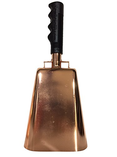 11.2 inch Copper Plated Bell Black Handle Cowbell with Stick Grip Handle Used for Cheering at Sporting Events - Cow Bell by Stewart TradingTM