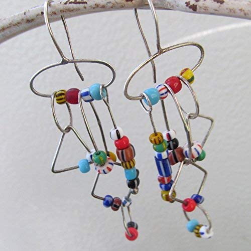 Long Multicolor African Trade Bead Dangling Earrings in Silver- Diana Anton Jewelry Design