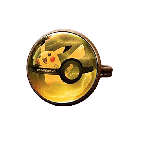 Glass Dome Ring - Pokemon Pokeball Ring Anime Pokemon Go Pikachu Pokemon Glass Dome Ring (style 20)