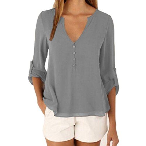 V Asymtrique t Chemise Tops Shirt Casual cou Mousseline Gris Blouse Longue T Lache Manches Femmes Grande Tomayth Tunique Taille PtxqwYSSd