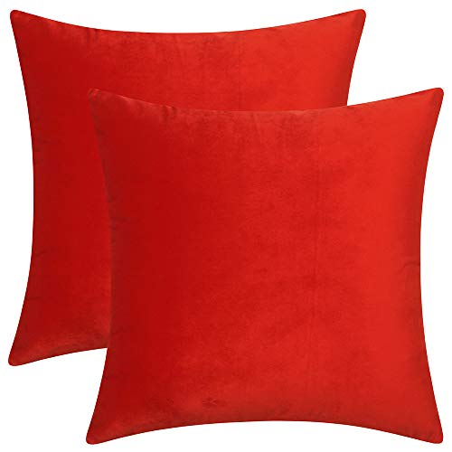 Artcest Set of 2, Cozy Solid Velvet Throw Pillow Case, Decorative Couch Cushion Cover, Soft Sofa Euro Sham with Zipper Hidden, 16x16 (Bright Red)