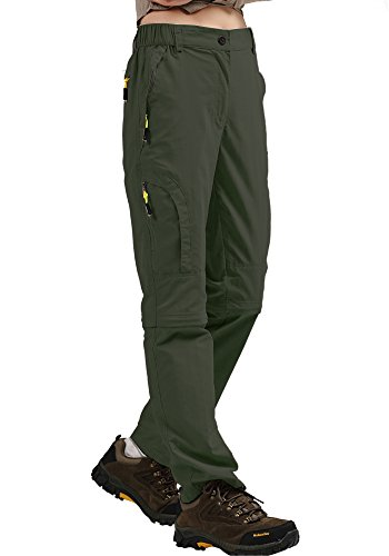 Women's Convertible Athletic Quick Drying Lightweight Outdoor Hiking Travel Cargo Pants #4409,Army Green,M,29-30 (29 Green)