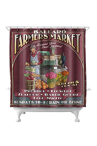 Seattle, Washington - Ballard Farmers Market Vintage Sign 41367 (74x74 Polyester Shower Curtain) ()