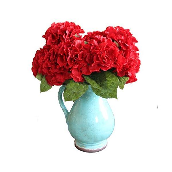 Duosuny Artificial Silk Fake 5 Heads Flower Bunch Bouquet Home Hotel Wedding Party Garden Floral Decor Hydrangea (Red)
