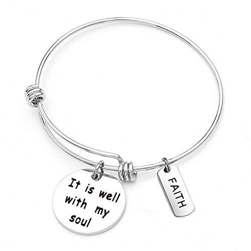 CHOROY It is Well with My Soul Bangle Bracelet Scripture Bracelet Religious Faith Jewelry Inspirational Gift