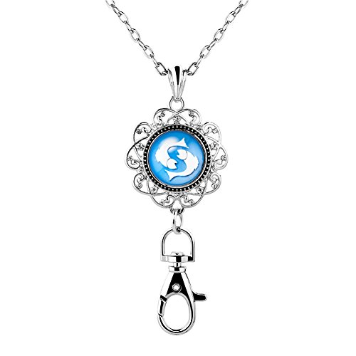 Mel Crouch Office Lanyard ID Badge Holder Necklaces Keychain with Horoscope Zodiac 12 Constellation Snap Button Charms (Pisces)
