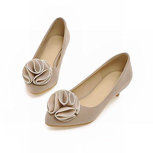Latasa Femmes Mignonne Floral Nubuck Synthétique Talon Bas Confort Pompes Chaussures Beige