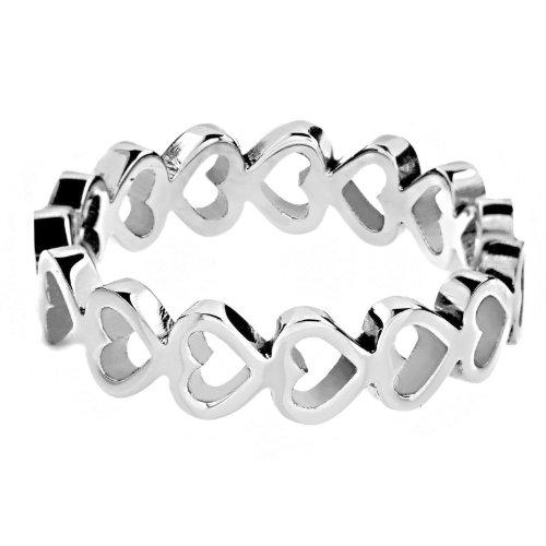 West Coast Jewelry Women's Stainless Steel Open Heart Eternity Ring (5 mm) - Size 8
