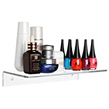 """12"""" Contemporary Premium Clear Transparent Acrylic Floating Shelf / Wall Mounted Display Organizer"""