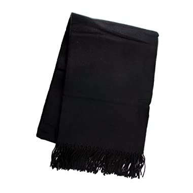Simplicity Cozy Cold Weather Woven 50  x 70  Blanket Throw with Tassels, Black