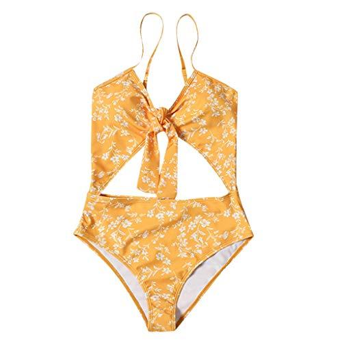 - FKSESG Womens Sexy Solid Costume Padded Swimsuit Monokini Bikini Sets Swimwear Yellow