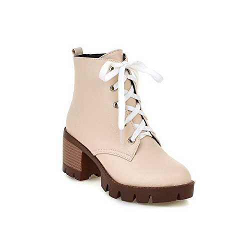 Toe Kitten Solid Lace Platform Beige Boots Urethane BalaMasa Womens Heels ABL09722 Up Round 5fCq04w0x