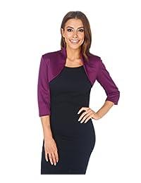 KRISP Womens 3/4 Sleeve Crop Tailored Evening Blazer Party Shrug