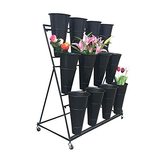 Plant Theatre - 3 Layers Flower Stand Wrought Iron with Flower Pot, Florist Shelf, Garden Gardener Gift, 12 Flower Bucket Display Stand (Color : Black Frame Black Bucket) (Florist Flower Bucket)