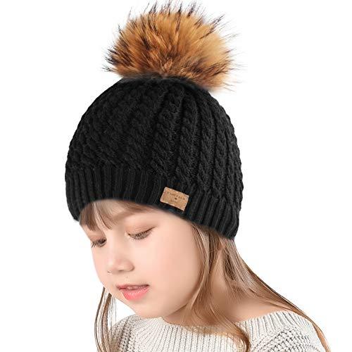 63ba67f3658200 Winter Beanie Hats for Women FURTALK Womens Warm Knit Fur Bobble Pom Pom Hat
