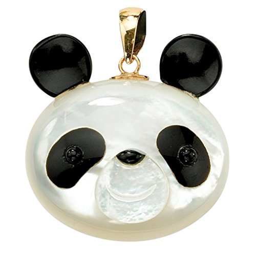 Genuine White Mother-Of-Pearl and Reconstituted Onyx 14k Yellow Gold Panda Bear Pendant -