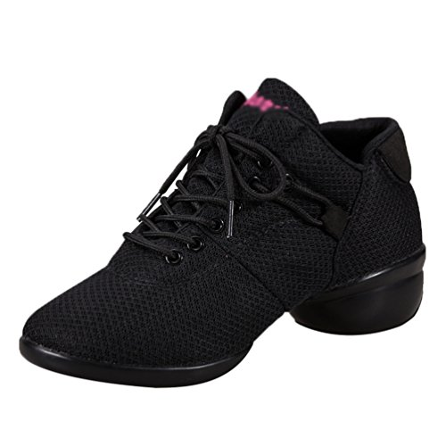 YouPue Women's Mesh Breathable Dance Training Shoes Trainers Round Toe Sneakers Lace Up Sport Shoes Black