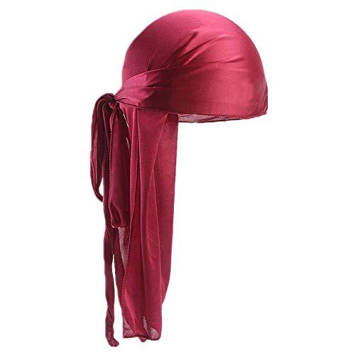 Satin Pirate Bandana - Fxhixiy Men Women Durag Extra Long-Tail Headwraps Silky Satin Pirate Cap Bandana Hat for 360 Waves (Wine)