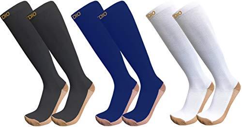 Plus Size Wide Calf 3-Pairs Anti-Fatigation 20-30mmHG Gold Toe Copper Compression Socks for Men & Women (6XL/7XL)