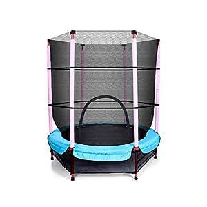 4.5ft Kids Trampoline Round Indoor Outdoor Junior Enclosure Safety Net Jumping