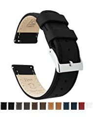 Barton Quick Release Top Grain Leather Watch Band Strap - Choose Color - 16mm, 18mm, 20mm, 22mm or 24mm - Black 22mm