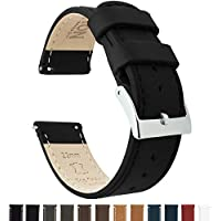 Barton Quick Release Top Grain Leather Watch Band Strap - Choose Color - 16mm, 18mm, 20mm, 22mm or 24mm - Black 20mm