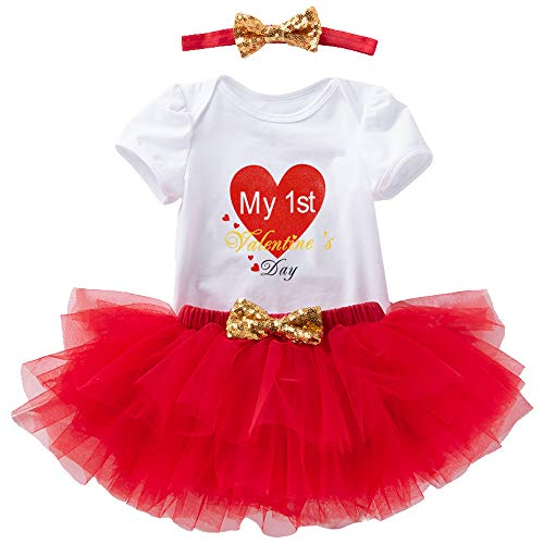 Baby Girl First Valentines Day Outfit – Red Romper Skirt Set with Headband for Infant Newborn Toddlers, Tutu Dress Clothes for 1st Daddy's Photography Birthday Baby Shower Daughter Gifts, XL