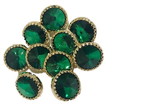 Green Sapphire and Gold Colored Buttons, Made of Plastic. A Total of 10 Buttons in a Bag.