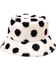 Malaxlx Winter Faux Fur Furry Bucket Hat Fluffy Fuzzy Warm Hat Plush Fisherman Hat for Women Teens Girls