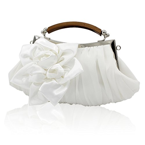kingluck Floral Embellish Sheer Chiffon Exterior Party Clutch-evening Out Collection (white) (Bridal Satin Silk Handbag)