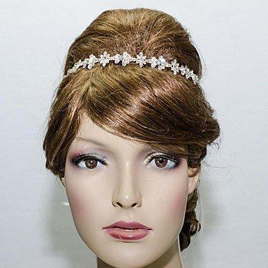 SuSy 27.5cm Vogue Bridal Princess Wedding Ribbon Flower Headband Headdress with Clear Rhinestone, Hair Jewelry