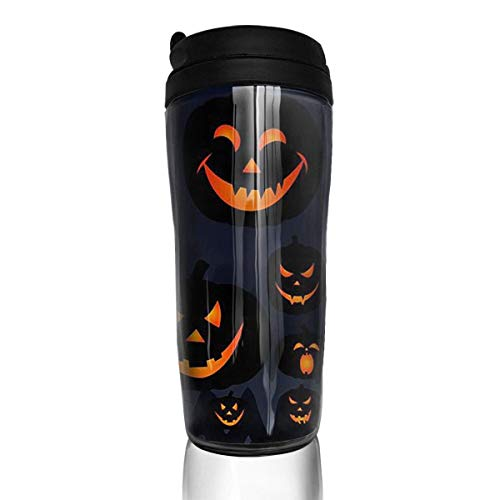 Travel Coffee Mug Halloween Jack O Lantern 12 Oz Spill Proof Flip Lid Water Bottle Environmental Protection Material -