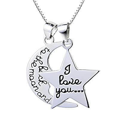 Amazon 925 sterling silver i love you to the moon and back 925 sterling silver i love you to the moon and back engraved crescent moon star pendant aloadofball Image collections
