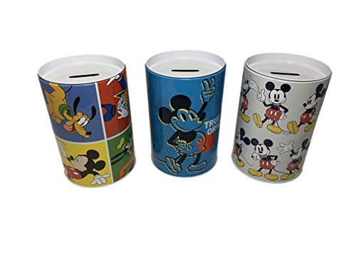 Mickey Mouse Coin Bank, Pop Art Style Design. Coin Collecting Set of 3 Banks