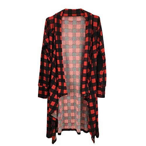 (Buffalo Plaid Cardigan for Women Plus Size Open Front Elbow Patch Draped Flyaway Long Duster (X-Large, Red Black Buffalo Plaid))