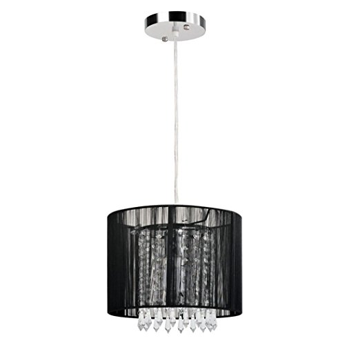 Modern simplicity Crystal Ceiling chandelier lighting Light, 1-Light Cylindrical Plug-In Pendant, Black wire Caged Crystal Shade?For Living Room, Bedroom, Dining Room