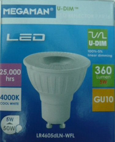 Megaman Modo 5 watt Cool White NEW MODEL 4000K LED GU10 Pack of 4 bulbs & Megaman Modo 5 watt Cool White NEW MODEL 4000K LED GU10 Pack of 4 ...