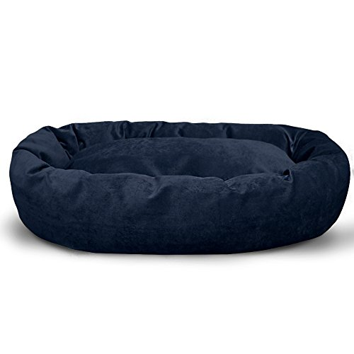 Majestic Pet Personalized Bagel Dog Bed - Machine Washable - Soft Comfortable Sleeping Mat - Durable Supportive Cushion Custom Embroidered - available replacement covers - Small Navy Blue by Majestic Pet (Image #1)'