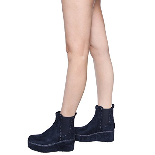 Beston Ei55 Womens Pull On Elastico Side Chunken Con Zeppa Alla Caviglia Chelsea Booties Blu Scuro