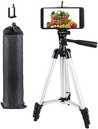 PRITECH 106 cm Aluminio Trípode para Móvil, Cámara réflex, iPhone, Gopro, Smartphone con Adaptador de Móvil y Gopro para Fotografía y Video