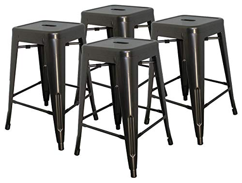 Hercke 24 Stacking Metal Bar Stool 4 Pack Steel – Gunmetal Gray – Kitchen Island Counter Industrial Indoor Outdoor Backless Chair by SafeRacks 24