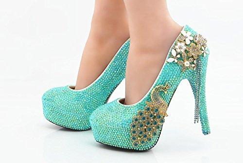 Scarpe da sposa YCMDM scarpe da sposa scarpe fatte a mano abiti Scarpe Laghi Blue Diamond Phoenix di cristallo Large Size , 11 cm with high reservation , 36