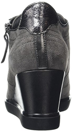 Geox Women's D Eleni D Low-Top Sneakers, Black, 4 UK Grau (Gun/Dk Greyc1g9f)
