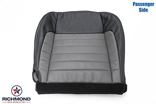 Richmond Auto Upholstery 2002 Ford F-150 F150 Harley Davidson Edition Supercharged Passenger Side Bottom Replacement Leather Seat Cover, Black & Gray