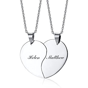 Amazon couple stainless steel necklace sets i love you heart pj stainless steel personalized custom engraved name puzzle heart matching necklace set for couples aloadofball